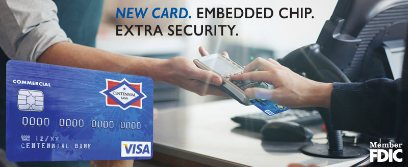 New Card. Embedded Chip. Extra Security. EMV Chip Card Image