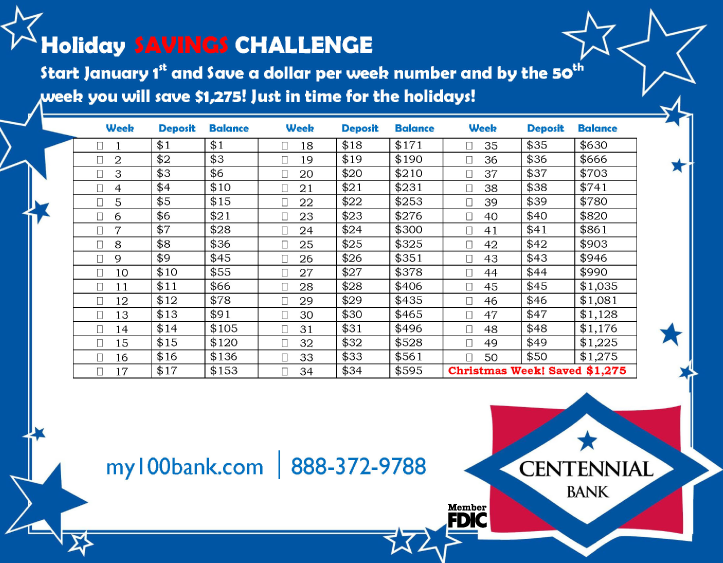 Holiday Savings Challenge printable image